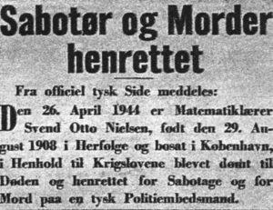 Officiel meddelelse om Svend Otto Nielsens henrettelse.