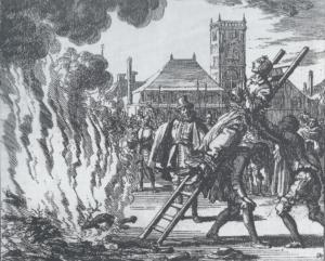 Hekseafbrænding. Samtidig hollandsk tegning fra 1500-tallet.