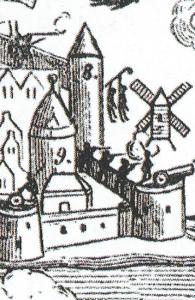 Detalje fra tegningen. Fra fæstningstårnet Krigelen ved det nuværende Magasin, hænger to personer.